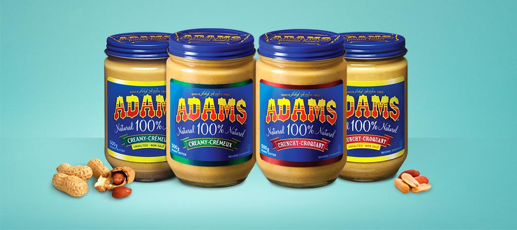 various Adams Peanut Butter products